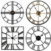 Roman Numerals Round Square Wall Clock Black Gold Large Metal Clock 40cm 60cm