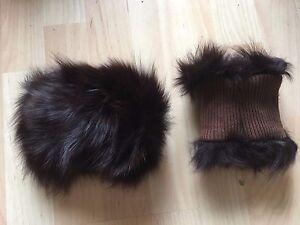 one pair of dark brown real genuine Chinese fox fur cuffs nylon lining