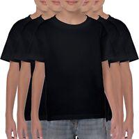 5 Pack Gildan Childrens T-Shirt Cotton Plain Boys Girls Black T Shirts S-XL Kids