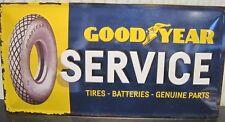 GOODYEAR SERVICE, TIRES, BATTERIES, EMBOSSED 3D XL METAL SIGN 50X25cm   GARAGE