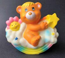 Soma 1985 Vintage Kids Plastic Coin Bank Orange Teddy Bear Rainbow Shooting Star