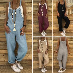 AU STOCK Women Summer Bib Pants Jumpuit Playsuit Dungarees Romper Long Overalls