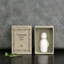 East of India White Porcelain Penguin in Flipping Love You Vintage Matchbox