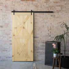 """36"""" x 84"""" inches DIY Sliding Barn Door Natural Pine Unfinished, Double X"""