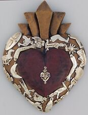 Mexican Carved Wood Heart Wall Hanging Folk Art Milagros Sacred Heart # 06