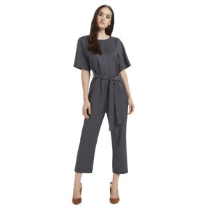 SEED HERITAGE, SIZE 12, GREY WOOL BLEND, WAISTED JUMPSUIT