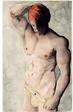 watercolor NUDE Male JOCK RED #ArtofEsteban Realism Signed 2/6/50 FREE SHIP