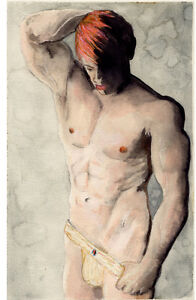 Jock Red  Watercolor #ArtofEsteban Realism Signed 2/12/50 FREE SHIP nude male