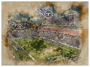 "Tennessee Titans Poster Watercolor Art Print Man Cave Decor 12x16"""