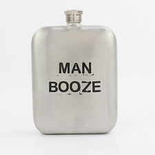 "Silver square ""MAN BOOZE"" Hip Flask 5.5oz with Screw Top Lid for a Jolly Gift"