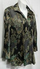 NWT Jaclyn Smith Size L Woven Paisley Button Front 3/4 Sleeve Blouse