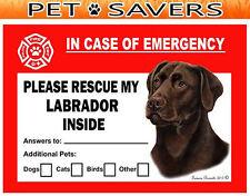 Labrador Chocolate Pet Savers Emergency Rescue Window Cling Sticker
