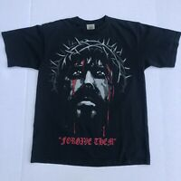Liquid Blue Jesus Forgive Them Graphic Tee Savior Cross Street Wear 2004 Rare Md