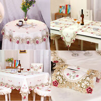 White Embroidered Lace Tablecloth Dining Table Runner Cover Mats Wedding Party