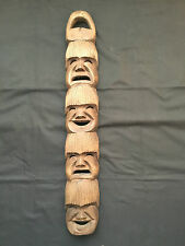 Carved Wood Face Mask  Decor –4 mini masks in 1- Brown Smiling / Sad Faces  M10