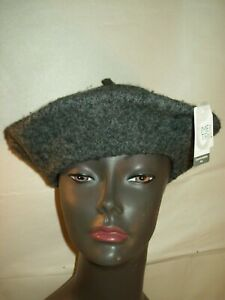 NEW WOMEN'S TIME AND TRU SOLID WOOL BERET HAT CAP CHARCOAL GREY ONE SIZE