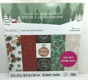 Recollections Paper Pad 12x12 Christmas Holiday Homestead Scrapbook 48 Sheets
