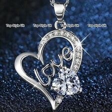 925 Sterling Silver Love Heart Necklace Xmas Girlfriend Gifts for Her Women Z3