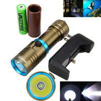 XM-L T6 LED Scuba Diving Flashlight Underwater 150m Lighting Torch Battery Set K