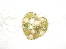 W/ Tri-Color Green Stones Beautiful Heart Shape Pin Brooch