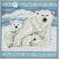 Counted Cross Stitch Kit Polar Bears By: Mill Hill