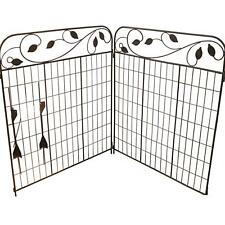 Metal Garden Fence Gate 2 Panel Set Rust Proof Animal Barrier Decor Wrought Iron