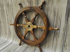 "18""Nautical Wooden Ship Steering Wheel Pirate Decor Wood Brass Fishing Wall Boat"