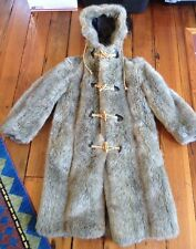 Vintage 70s Zero King Faux Fur Fully Lined Hooded Duffle Coat Mens USA Made S 34