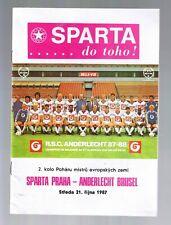 programme AC SPARTA PRAHA vs RSC ANDERLECHT 1987 programmaboekje