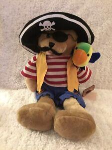 "Vtg Chantilly Lane Animated Pirate Bear W/Parrot SINGING ""Ole Ole Hot Hot Plush"