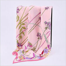 100% silk scarf multi-coloured square twill silk with hand-rolled edge