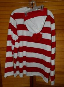Spirit Halloween Where's Waldo Costume Red White Stripe Shirt Hat Adult Large XL