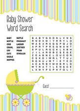 Baby Shower Juego-búsqueda de palabras-Juego De 16