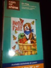"Rain Or Shine Outdoor Art Flag Fall Season Dog & Leave "" Hello Fall"" 28"" X 40"""