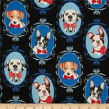 Dog Portraits 100% Cotton Fabric by Timeless Treasures  FQ 50cm x 55cm