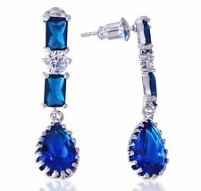 Sapphire Blue Cubic Zirconia  Teardrop  Earrings