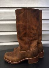 FRYE Brown Campus Distressed Leather Motorcycle Boots