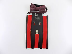 Alfani $75 MEN Red Suspenders ADJUSTABLE One Size WIDTH 25mm + BOW TIE SET L08
