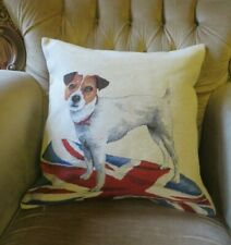 JACK RUSSELL ON ENGLISH UNION JACK FLAG TAPESTRY PILLOW CUSHION COVER ONLY