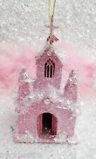 Pink Putz Vintage Style~Christmas Village Church Ornament~Shabby Cottage Chic