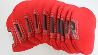 Quality Set of 10 Neoprene Iron Club Head Covers in Red Black or Navy Blue New