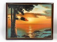 Vtg 1970's Cypress Tree California Coast Beach Sunset Oil Painting Signed