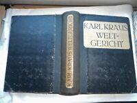 Karl Kraus: Weltgericht 1-2, 1919 Verlag der Schriften von Karl Kraus Kurt Wolff