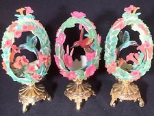 Lot Of 3 Franklin Mint House of Faberge Hummingbird Egg Figurines Carved Flowers