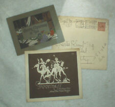 TWO 1925 CHRISTMAS CARDS w/POST MARKED ENVELOPE NEW YORK HANS PLATO
