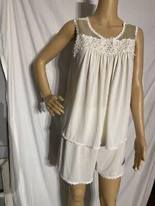 Vintage Shadowline Nylon Pajama Set Ivory Tank, Shorts Small (medium)