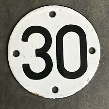HOME GARAGE SHOP GATE ENAMEL NUMBER 30 PLATE SIGN