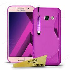 For Samsung Phones Models- Chrome Clear Gel S- Line Case Cover + Screen Guard