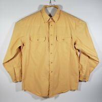 LL BEAN Mens Large Button Up Heavy Shirt 100% Cotton Long Sleeve Mustard O-MT16