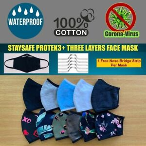 3D Face Mask 100% Cotton Three Layer Reusable Washable Unisex USA (All Sizes)